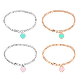 Wholesale ladies wristbands - Ladies Smile Heart Beads Chain Cuff Bracelet Stainless Steel Jewelry Elegant Women Charm Bangle Wristband Xmas Gift for Girlfriend Wholesale