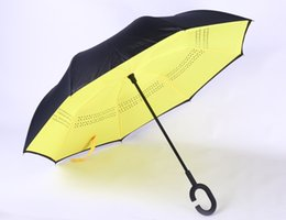 Wholesale Down Proof - Yellow Windproof Reverse Closing Double Layer Inverted Umbrella and Inside Out Upside Down Rain Protection ultraviolet-proof Umbrella