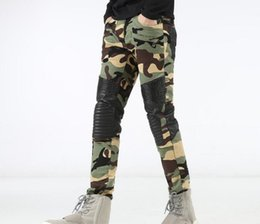 Wholesale Camouflage Stretch Pants - Brand Famous Distressed Ripped Biker camouflage Jeans stretch Demin jeans Hiphop Cropped Pants with Extreme Straight Tight Plus size 29~42