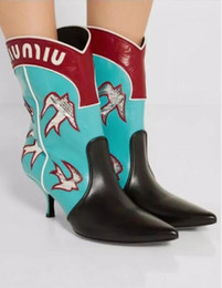 Wholesale Sew Candy - 2017 newly women cowboy boots fashion candy color chelsea booties square heel mixed color booties dress shoes ankle motorcycles boots