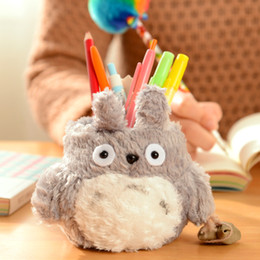 Wholesale Stand Holder Pouch Case - Wholesale- Super Kawaii MY Neighbor TOTORO Plush Cover DOLL ; Phone Stand Holder Pouch Case RACK DOLL & School Desk Pen Pencil Holder BOX