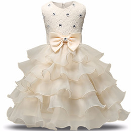 Wholesale beige tutu dress - 2017 Fashion Girls Wedding Princess Dress Winter Formal Gown Ball Flower Kids Clothes Children Clothing Party Girl Dresses