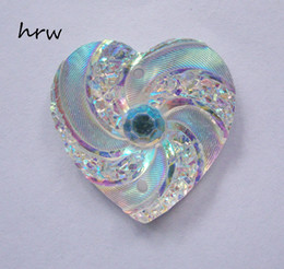 Wholesale Halloween Flat Back Resins - Free shipping DIY accessories 200PCS Lot 20mm heart AB color Flat backs 2 hole Sew on Rhinestones