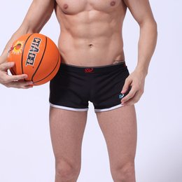 Wholesale Mens Stretch Briefs - Solid Brand Mens Boxer Slack Mesh Stretch Shorts Side Splitting Sports Trunk Swimsuit Men Boxers Shorts