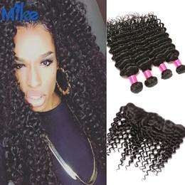 Wholesale Deep Wave Human Hair 5pcs - MikeHAIR Human Hair Weaves With Frontal 5Pcs lot Peruvian Brazilian Malaysian Indian Hair Deep Wave Ear to Ear Lace Closure With 4 Bundles