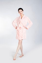 Wholesale Dot Bath Towel - The PINK Bathrobe Women Pajamas Hotel SPA for Women Coral Fleece Coral Cashmere Nightgown Sleepwear Bath Towels