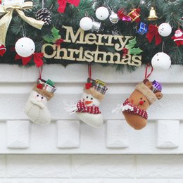 Wholesale Merry Christmas Baby - Free Shipping Canvas Christmas Little Baby stocking gift bags Xmas Merry Christmas decorative socks bags 2017 Best Selling