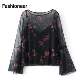 Wholesale Loose Shirts For Women - Fashioneer Shirts For Woman O Neck Flare Long Sleeve Mesh Two Pieces Sheer Loose Floral Printed Summer Tops Blouse For Women Lady S-L Size