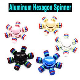 Wholesale Retail Box Aluminium - Hexagon Hand Spinner Six Angle Aluminium Alloy Fingertips Spiral Fingers Gyro Torqbar Fidget With 6 Heads Hand Spinner With Retail Box