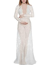 full sleeve lace maxi dress UK - Maternity Sexy Deep V-Neck Long Sleeve Lace See-through Maxi Dress For Beach