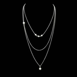 Wholesale Multi Layer Pearl Necklaces - Gold-Color Silver Color Multi Layer Link Chain With Simulated-pearl Geometric Shape Chain Necklace For Women Jewelry