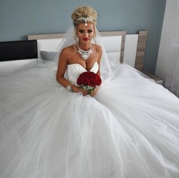 Wholesale Cheap Wedding Dresses Fast Shipping - 2018 Cheap Ball Gown Wedding Dresses Sweetheart Lace Tulle Corset Lace Up Wedding Gowns Plus Size Bridal Dresses Fast Shipping