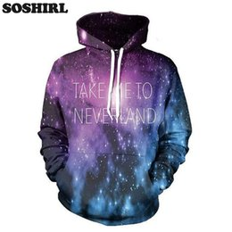 Wholesale Beautiful Hoodies - Wholesale- Take me to neverland Letter Printed Hoodies Man Couple Unisex Sweatshirt Purple Galaxy beautiful Landscapes Tops Dropship