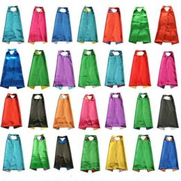 Wholesale Halloween Capes - Plain colors 70*70cm 2 layers satincostume Halloween Cosplay Superhero Capes kids capes 30 styles good quality by DHL