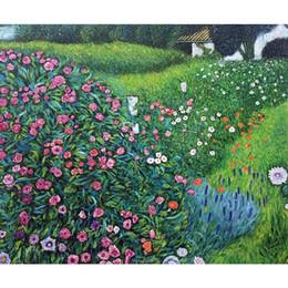 2019 pinturas al óleo italianas Jardín de arte hecho a mano Gustav Klimt Horticultura italiana Paisaje pinturas al óleo sobre lienzo para la decoración de la vida pinturas al óleo italianas baratos