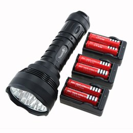 Wholesale 12x Cree Led Flashlight - TrustFire 15000 Lumen 12T6 Tactical Hunting Flashlight 12x CREE XM-L T6 Camp LED Torch Lamp + 6x 18650 Battery + 3x EU Charger
