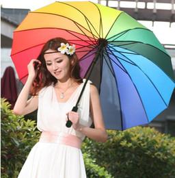 Wholesale Rainbow Umbrella Golf - 2017 High Quality Golf Umbrella Automatic Long-handle Umbrella Sunny Rainy Pongee Rainbow Adult Umbrella LLFA