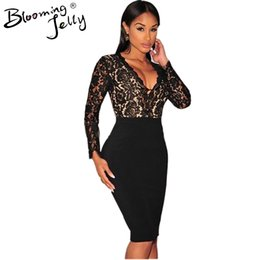 Wholesale Sexy Deep Cleavage - Wholesale- Blooming Jelly Crochet Black Floral Lace Deep V Neck Plunge Patchwork Midi Bodycon 2016 Party Dress Sexy Night Club Cleavage