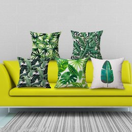 Wholesale Leaf Throw Pillows - Wholesale- Pillow Case Africa Tropical Plant Pillow Cover Cotton Linen Case Banana Leaf Throw Square Home Relax Ornaments 45cmX45cm