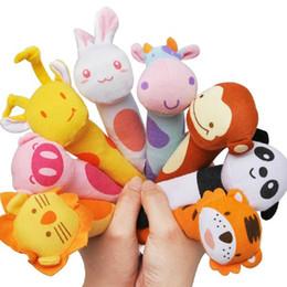 Wholesale Toys Bibi - Wholesale- New Baby Rattles Toy BIBI Bar Animal Squeaker Bar Toys Baby Hand Puppet Enlightenment Plush Doll 8 Design