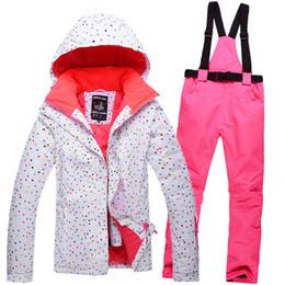 Wholesale Dot Suit Jacket Girl - Wholesale- Free Shipping 2016 White dot Ski Jacket Women's Winter Clothing Jacket + Pant Skiing Suit Girls Snowboard Suits