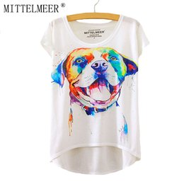 Wholesale Wholesale Dog T Shorts - Wholesale-2016 Brand New harajuku T-Shirt Women Short Sleeve t-shirts o-neck Causal loose Watercolor dog T Shirt Summer tops for women