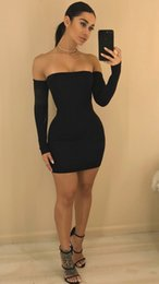 Wholesale Cheap Club Dresses Online - 2017 Long Sleeve Off Shoulder Evening Dress Sexy Bandage Bodycon Dress Fashion Women Party Dresses Cheap Cotton Club Dress Online Sale