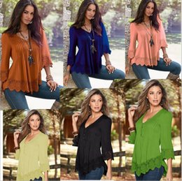 Wholesale Ladies Leisure Shorts - Women Lace Top T-shirts Casual Blouse Fashion Tops Lady Leisure Tees Loose Shirts Sexy Camis European Blusas Feminina Women Clothes B1739