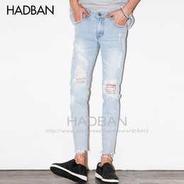 Wholesale Korean Men Casual Jeans - Wholesale-2016 Spring and Summer New Men's Jeans Pants Korean Style Light Blue Skinny Hole Jeans Men Casual Ripped Jeans For Men Hot Sale