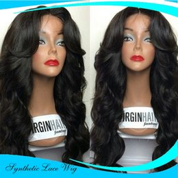 Wholesale Hair Tie For Women - Synthetic Lace Front Wig Long Natural Wavy Black Hair Wigs for Black African Ameican Women Glueless Wigs Heat Resistant Fiber Half Hand Tied