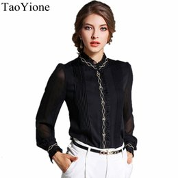 Wholesale Loose Work Blouse - 2017 Women Blouses Long Sleeve Stand Loose Chiffon Blouse Shirt Work Camisas Femininas Women's Tops Fashion Office Blouse Blusas 17606