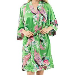 sexy chinese style dresses Coupons - Wholesale- New Arrival Green Female Printed Floral Kimono Dress Gown Chinese Style Rayon Robe Nightgown Flower S M L XL XXL XXXL 20160415