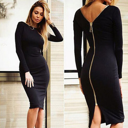 Wholesale Woman Casual Dress Knee Length - Fashion Black Long Sleeve Party Dresses Women Clothing Back Full Zipper Robe Sexy Femme Pencil Tight Dress