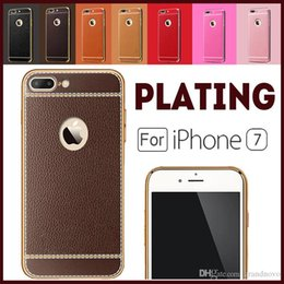 Wholesale Soft Silicone Frame Iphone - Litchi Grain Luxury Plating Soft Leather TPU Silicone Frame Protector Clear Phone Case Cover For iPhone X 8 7 plus 5S SE 6S Samsung S8