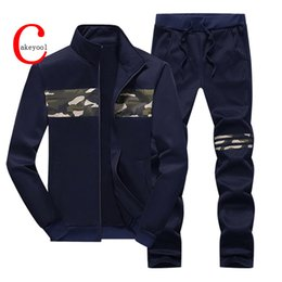 Wholesale Mens Casual Sweat Suits - Wholesale-New Winter Mens Camouflage Sweat Hoodies Brand Mens Tracksuit Sets Fleece Zipper Jacket + Pants Sporting Suit 16j56