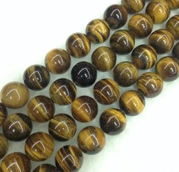 Wholesale Glass Beads For Eyes - 6 Sizes Stone Round Loose Round Glass Beads Tiger Eye Natural Stone Beads for Bracelet Necklace Bracelet jewelry Making