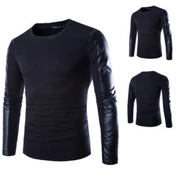 Wholesale T Shirt Black Leather Men - Men's PU leather patchwork splice long-sleeved T-shirt Male Cotton T shirt Black Casual Tops camiseta Plus Size Free Shipping