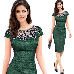 Wholesale Elegant Work Wear - Womens embroidery Elegant Vintage Dobby fabric Hollow out embroidered Ruched Pencil Bodycon Evening Party Dress