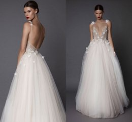 Wholesale Beaded Spaghetti Strap Wedding Dresses - Vintage A Line Tulle Sexy Open Back 2017 Berta Weeding Dresses Spaghetti Strap Flowers Beaded V Neck Long Bridal Gowns