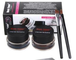 Wholesale Eyeliner Palette - New Music Flower Makeup Eyeliner Gel & Eyebrow Powder Palette Waterproof Lasting Smudgeproof Cosmetics Eye Brow Enhancers