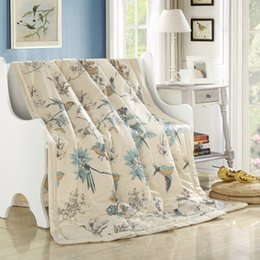 Wholesale Thin Summer Quilts - Wholesale- fresh style magpie beige pastoral summer comforter 150*200cm 200*230cm size quilted Quilt thin Blanket Plaids