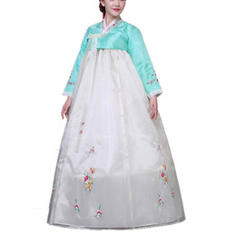 Wholesale Costume National Dresses - 2017 Women Korean Traditional Dress Top + Skirt Sets Korean Court Wedding Costumes National Costume Hanbok For adult