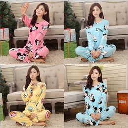 Wholesale womens cotton pajamas - Wholesale- 2016 Pajama Sets cotton womens pajamas Animal printing Indoor Clothing Home Suit Sleepwear Winter Pajamas Woman Pyjamas