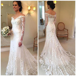 Wholesale V Neck Full Mermaid Wedding Dress - 2017 New Arrival Elegant White Full Lace Off the Shoulder Wedding Dresses Sheer Long Sleeves Mermaid Bridal Gowns With Sweep Train BA4066
