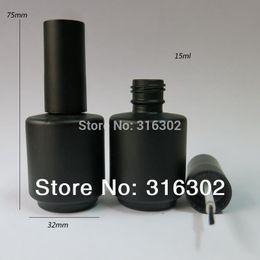 Wholesale Empty Enamel - Wholesale- 50 x 15ml Black Empty Nail Polish Bottle, 15cc Black nail enamel bottle, black glass bottle with brush cap