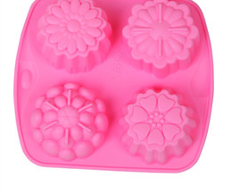 Wholesale Chocolate Different Shape - 4 Different Flower Shape Silicone Moon Cake Mold 3D Fondant Chocolate Cupcake Pudding Mold DIY Cake Tools 50pcs Free DHL Fedex