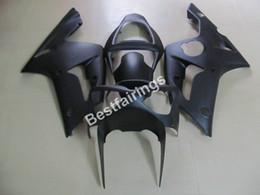 Wholesale Cheap Plastics For Motorcycles - Cheap injection mold plastic fairings for Kawasaki Ninja ZX6R 03 04 matte black motorcycle fairing kit ZX6R 2003 2004 UY32