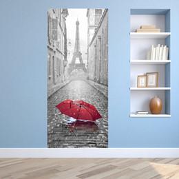 Wholesale Tower Building Wall Decor - 3D Eiffel Tower Door Mural Sticker Wet Umbrella By Rain Stickers Decorative 3D Door Mural Decal Large Size 77*200cm Building Home Decor