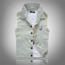 Wholesale mens vest patterns - Wholesale- 2016 Mens Casual Denim Vest Vintage Hole Jeans Jacket Mens Slim fit Sleeveless Vest P3017