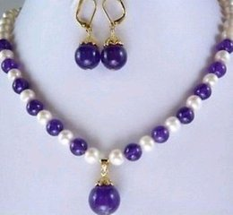 """Wholesale christmas workers - Workers Pretty!7-8MM White Pearl and Amethyst Necklace Earring 18"""""""